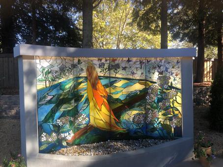 Wandering Woman glass mosaic fountain
