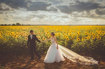 Hochzeitspaar vor Blumenfeld im grünen