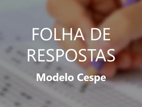 FOLHA DE RESPOSTAS - MODELO CESPE