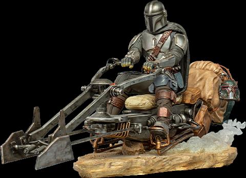 The Mandalorian on Speederbike Deluxe 1:10 Scale Statue by Iron Studios