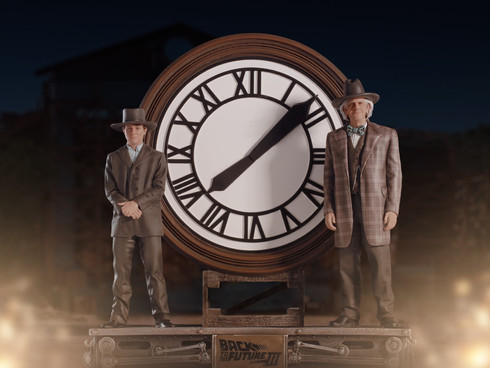 Marty and Doc at the Clock Deluxe