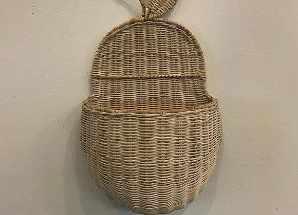 Hanging Apple Basket (White Wash)