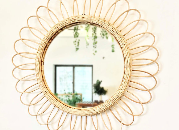 Sun Burst Round Rattan Mirror