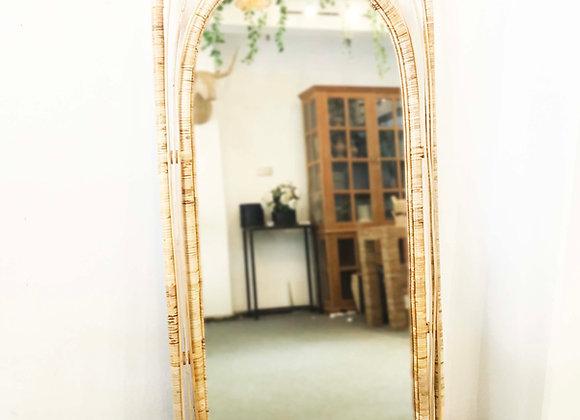 Arch Rattan Floor/Standing Mirror