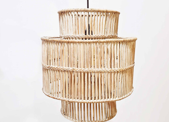 Double Barrel Rattan Hanging Lamp (white wash)