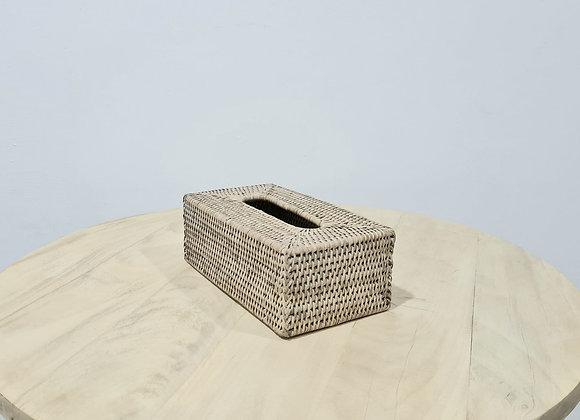 Rattan Tissue Box L26xD15xH10 cm White Wash