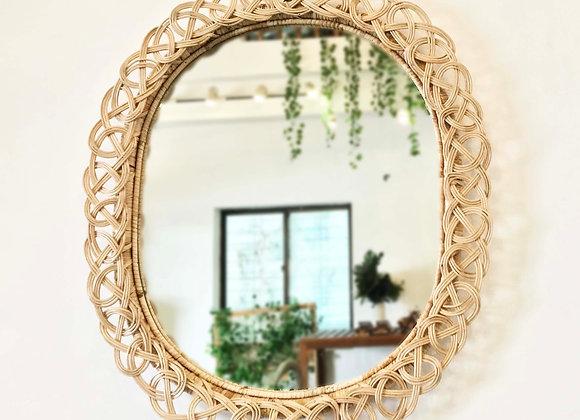 Knot Oval Rattan Mirror
