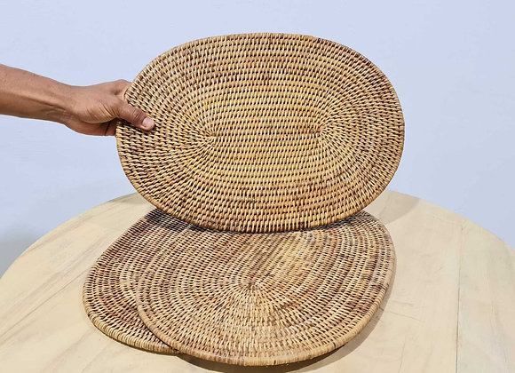 Oval Rattan Placemat L45xW30 cm