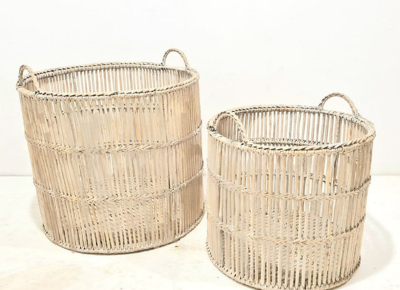 Hurricane Rattan Storage Basket Set of 2