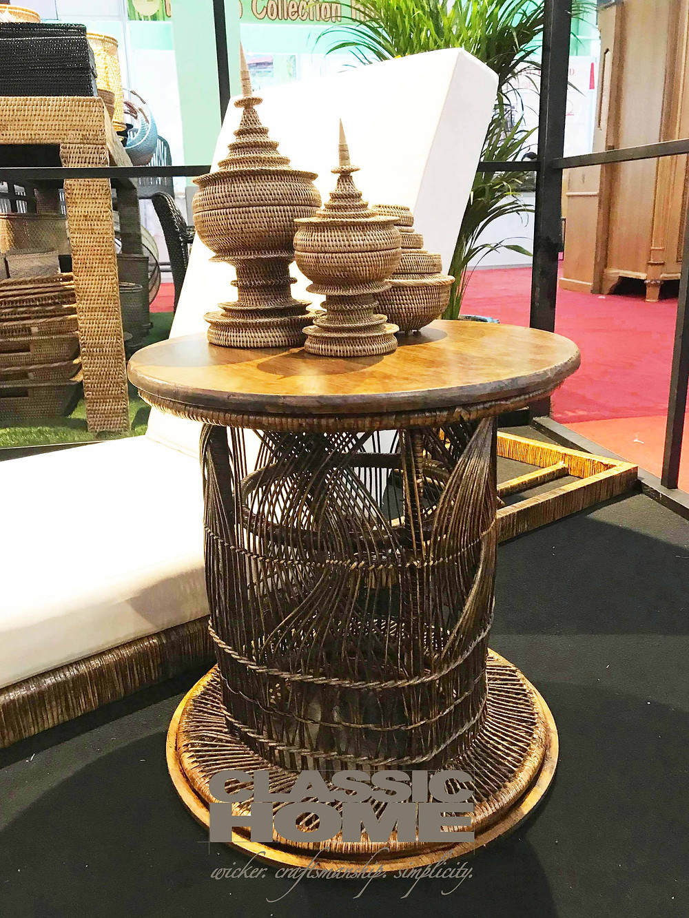 hand-made rattan stool or table by classic home myanmar