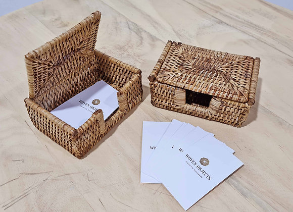 Rattan Name Card Holder - 12x8x6 cm