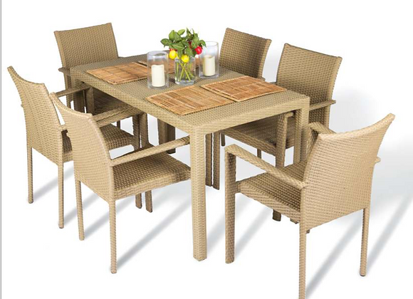 Vicky Dining Outdoor Chairs w/ Table Set For 6 persons