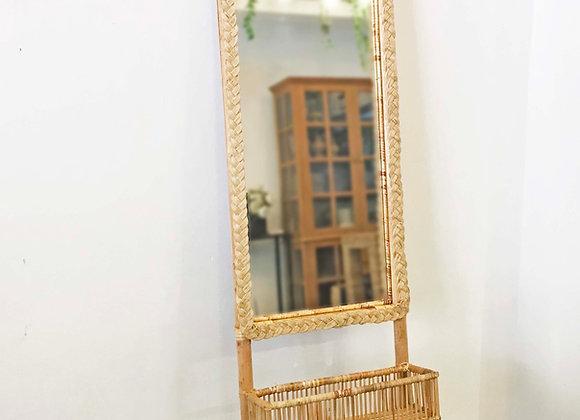 Chev Rattan Floor/Standing Mirror