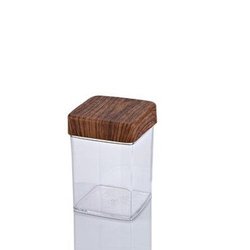 EVELIN WOOD SQUARE JAR 1L / 10 x 10 x 14 cm