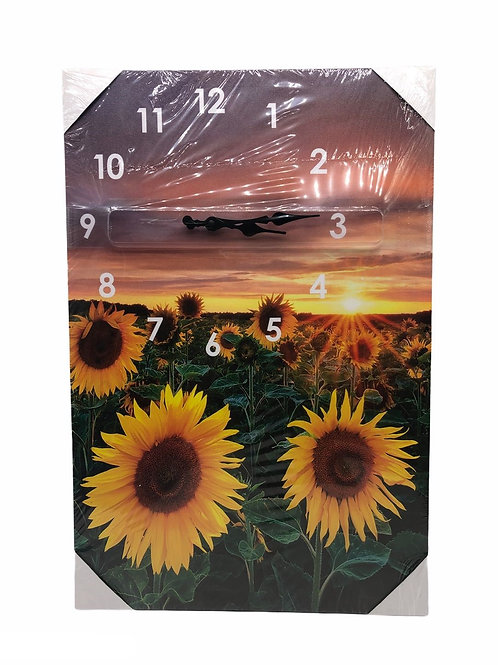CANVAS LED CLOCK SUNFLOWER CUADRO DE GIRASOLES CON RELOJ 16*27