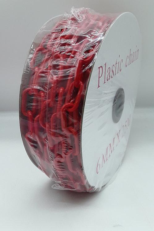 CADENA DE PLÁSTICO rojo 6 MM x25m