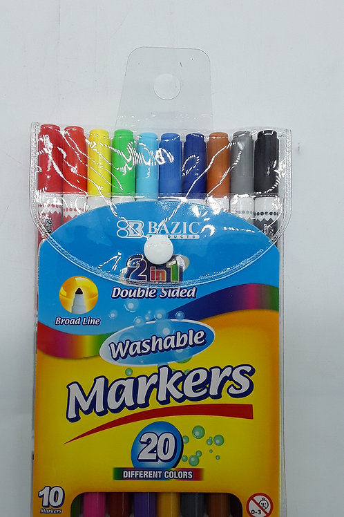 ESCO DOBLE-TIP WASHABLE MARKERS 20 COLORS