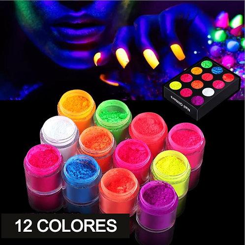 ACRILICO PARA UÑA FLORECENTE Fluorescence Powder 12 colors/set