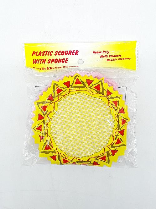 PLASTIC SCOURER WITH SPONGE ESPONJA