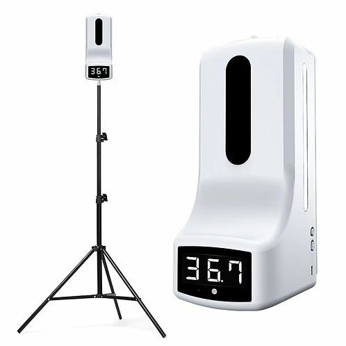 TERMOMETRO Y DISPENSADOR CON TRIPODE THERMOMETER AND DISPENSER WITH TRIPOS
