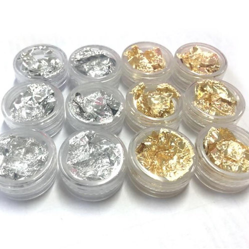 FOIL FLAKES SET GOLD AND SILVER 12PK