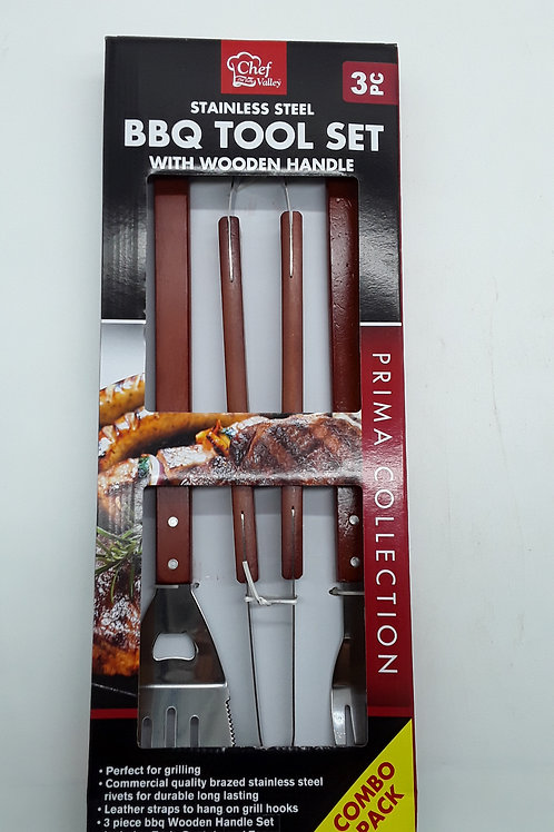 BBQ TOOL SET WOODEN HANDLE 3PC