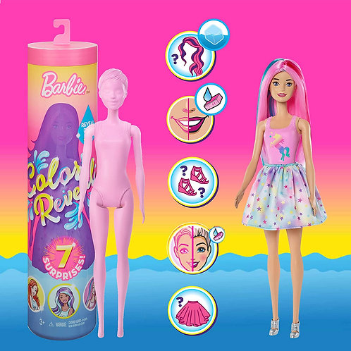 Barbie Color Reveal Doll Foodie Series Doll with 7 Surprises Including Scented