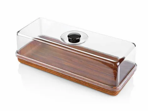 EVELIN WOOD BREAD AND CAKE SERVING TRAY W COVER