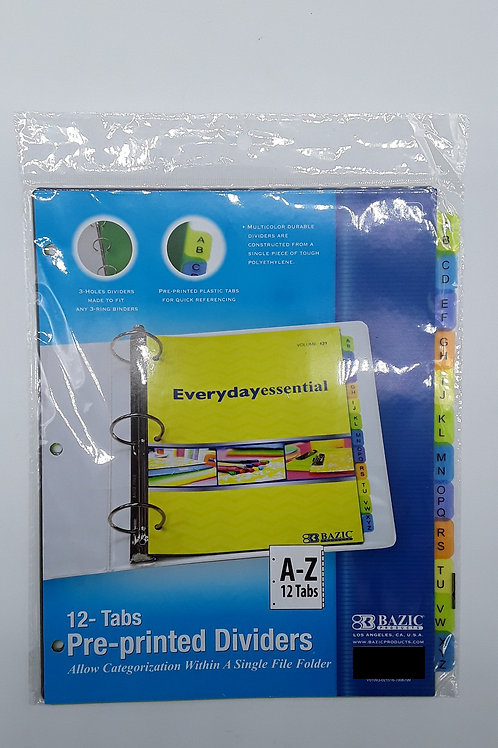3-RING BINDER DIVIDERS A-Z