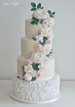 cascading florals and petal ruffles