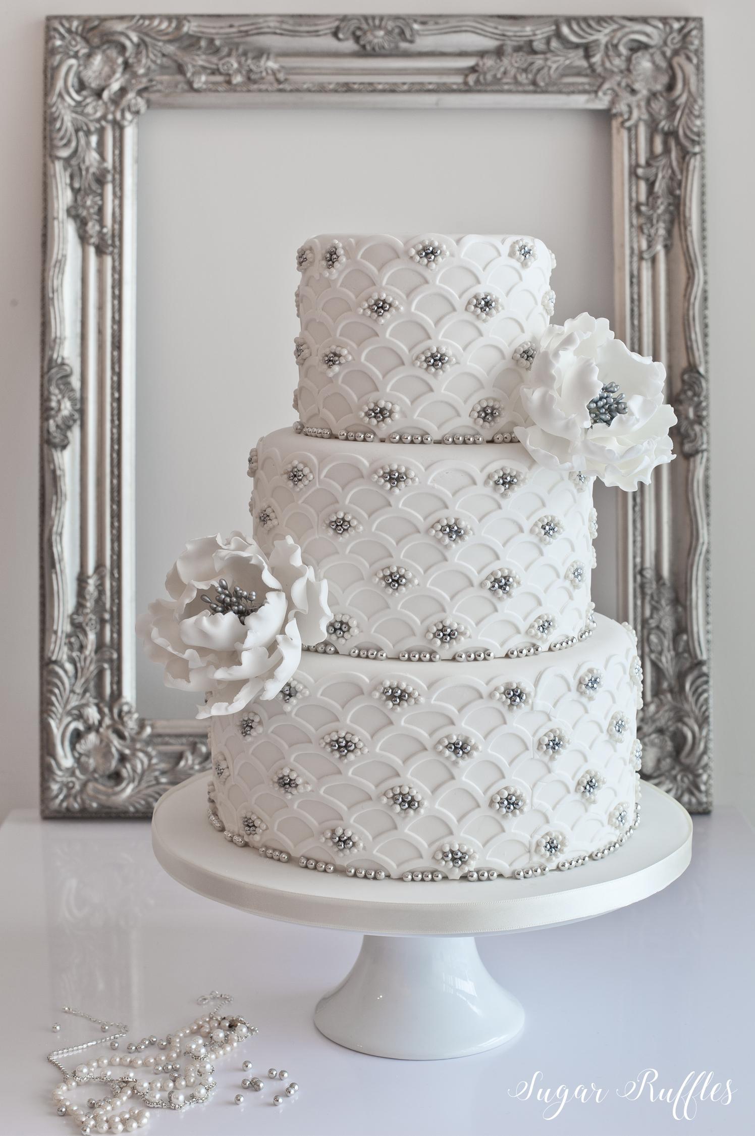Silver Pearl Wedding Cake