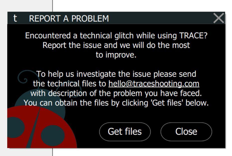 TRACE: Report A Problem Window