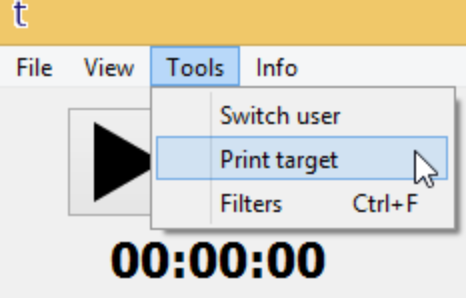 TRACE App: Target Printout