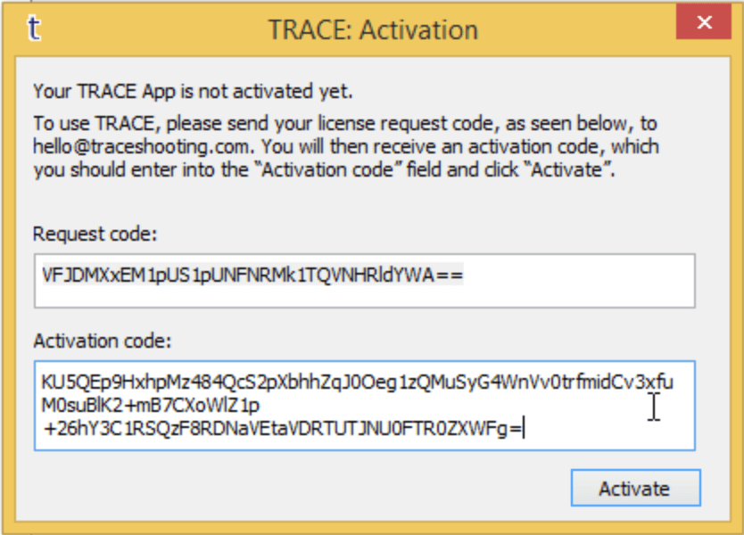 TRACE Activation Dialogue with Activation code