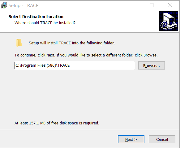 Installing TRACE: specifying installation folder