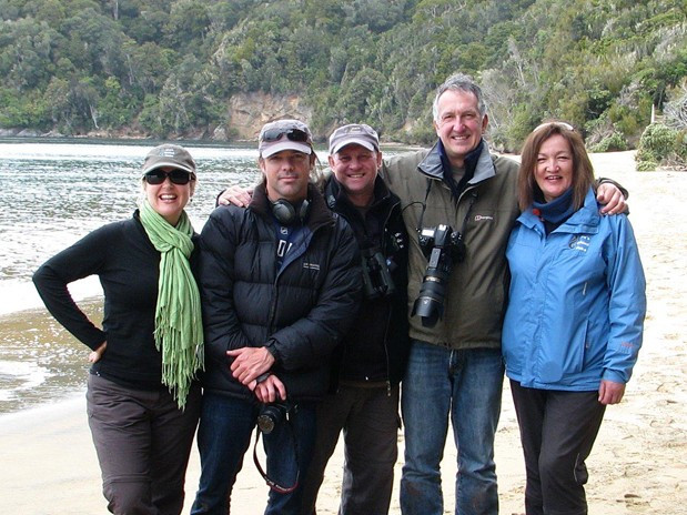 Mark Carwardine and film crew with myself and Ulva Goodwillie at Ulva Island NZ