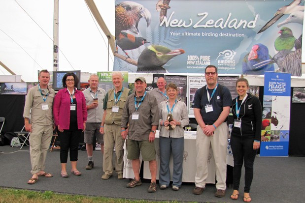 Brent, Lynette, Sav, Detlef, Matt, Gary, Jules, Dave & Rachel - representing the NZ Birding Network at the British Birdwatching Fair 2013