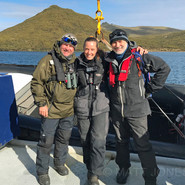 Heritage Expeditions' crew (me, Courtney and Captain Aleksandr
