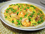 Shrimp w/ minced clams in spicy sauce over egg noodles
