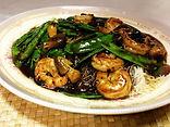Shrimp w/ black bean sauce over thin rice noodle