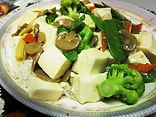 Bean curd w/ vegetable over thin rice noodle