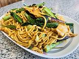 Eggplant & chicken in garlic sauce over lo mein