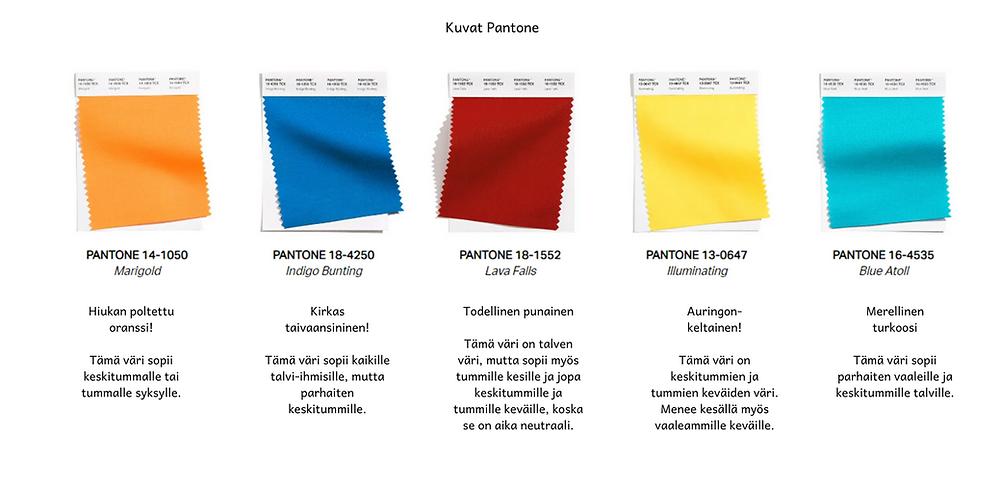 Pantone julkaisemat kevään ja kesän 2021 kirkkaat värit.