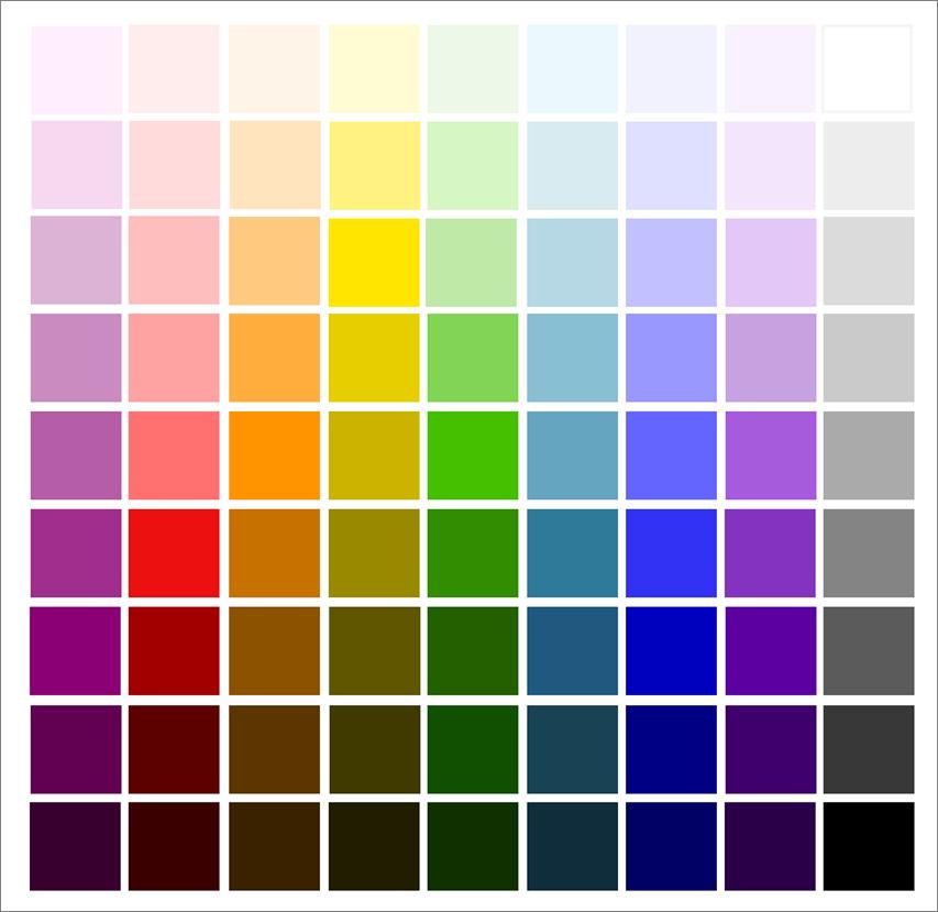 Värejä eri tummuusasteissa.