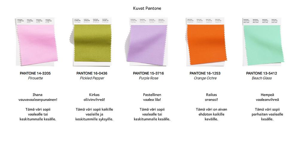 Pantone julkaisemat kevään ja kesän 2021 hempeät värit.