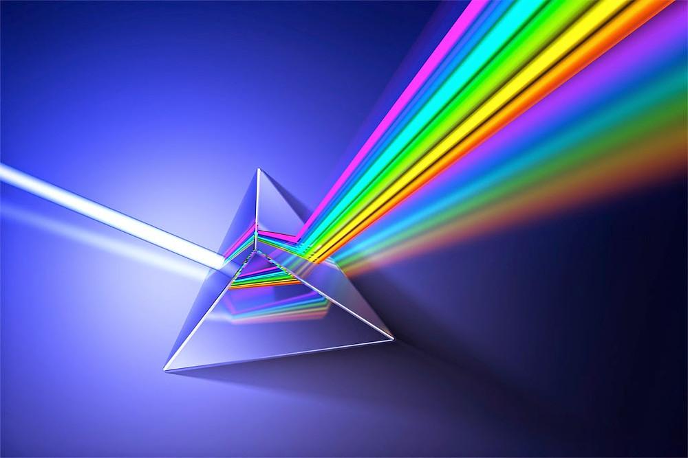 Prisma heijastaa eri värejä.