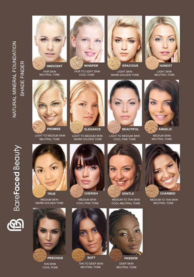 Barefaced Beautylla on 15 eri sävyä meikkipohjan valintaan.