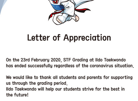 Letter of Appreciation for 2020 February STF Grading