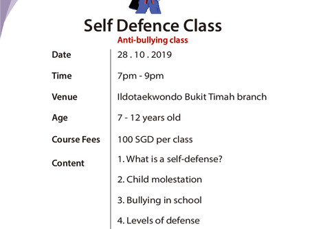 2019 October Self Defence (anti-bullying) Class