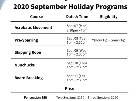 2020 September Bukit Timah Branch Holiday Programs